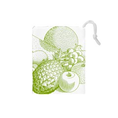 Fruits Vintage Food Healthy Retro Drawstring Pouches (small)