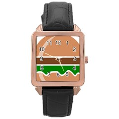 Hamburger Fast Food A Sandwich Rose Gold Leather Watch