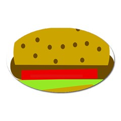 Hamburger Food Fast Food Burger Oval Magnet