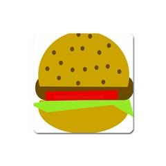 Hamburger Food Fast Food Burger Square Magnet