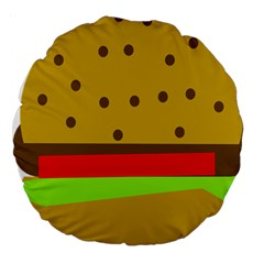 Hamburger Food Fast Food Burger Large 18  Premium Round Cushions