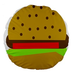 Hamburger Food Fast Food Burger Large 18  Premium Flano Round Cushions