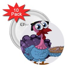 Turkey Animal Pie Tongue Feathers 2 25  Buttons (10 Pack)