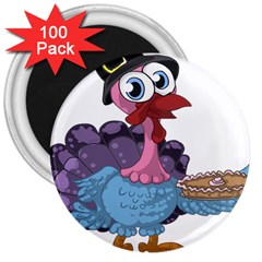Turkey Animal Pie Tongue Feathers 3  Magnets (100 Pack)