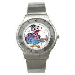 Turkey Animal Pie Tongue Feathers Stainless Steel Watch