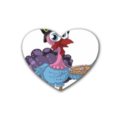 Turkey Animal Pie Tongue Feathers Rubber Coaster (heart)