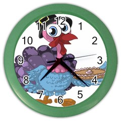 Turkey Animal Pie Tongue Feathers Color Wall Clocks