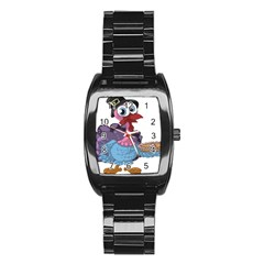 Turkey Animal Pie Tongue Feathers Stainless Steel Barrel Watch