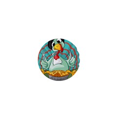 Pie Turkey Eating Fork Knife Hat 1  Mini Buttons