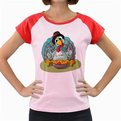 Pie Turkey Eating Fork Knife Hat Women s Cap Sleeve T Shirt