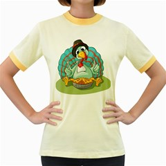 Pie Turkey Eating Fork Knife Hat Women s Fitted Ringer T Shirts