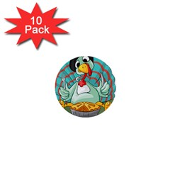 Pie Turkey Eating Fork Knife Hat 1  Mini Buttons (10 Pack)