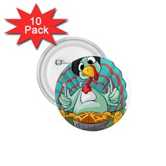 Pie Turkey Eating Fork Knife Hat 1 75  Buttons (10 Pack)