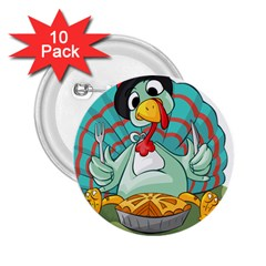 Pie Turkey Eating Fork Knife Hat 2 25  Buttons (10 Pack)