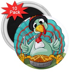 Pie Turkey Eating Fork Knife Hat 3  Magnets (10 Pack)