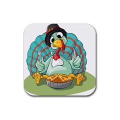 Pie Turkey Eating Fork Knife Hat Rubber Coaster (square)