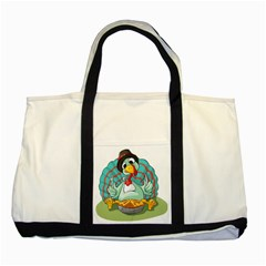 Pie Turkey Eating Fork Knife Hat Two Tone Tote Bag