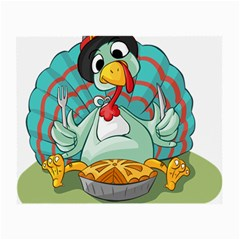Pie Turkey Eating Fork Knife Hat Small Glasses Cloth (2 Side)