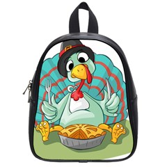 Pie Turkey Eating Fork Knife Hat School Bags (small)