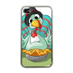 Pie Turkey Eating Fork Knife Hat Apple Iphone 4 Case (clear)