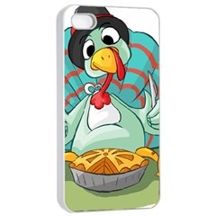Pie Turkey Eating Fork Knife Hat Apple Iphone 4/4s Seamless Case (white)