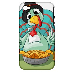 Pie Turkey Eating Fork Knife Hat Apple Iphone 4/4s Hardshell Case (pc+silicone)