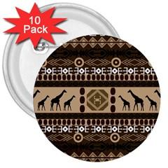 Giraffe African Vector Pattern 3  Buttons (10 Pack)