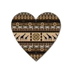 Giraffe African Vector Pattern Heart Magnet