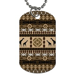 Giraffe African Vector Pattern Dog Tag (two Sides)