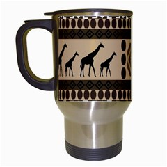 Giraffe African Vector Pattern Travel Mugs (white)