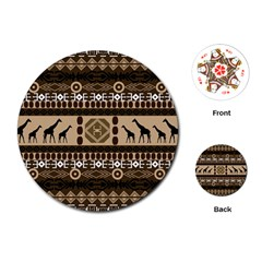 Giraffe African Vector Pattern Playing Cards (round)
