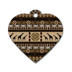 Giraffe African Vector Pattern Dog Tag Heart (one Side)