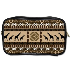 Giraffe African Vector Pattern Toiletries Bags 2 Side