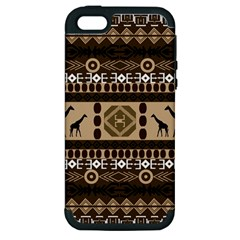 Giraffe African Vector Pattern Apple Iphone 5 Hardshell Case (pc+silicone)