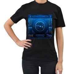 Technology Dashboard Women s T Shirt (black) (two Sided)