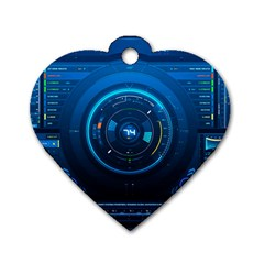 Technology Dashboard Dog Tag Heart (two Sides)