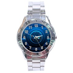 Technology Dashboard Stainless Steel Analogue Watch