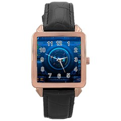 Technology Dashboard Rose Gold Leather Watch