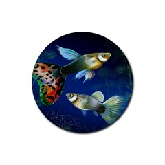Marine Fishes Rubber Round Coaster (4 Pack)