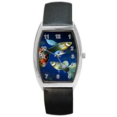 Marine Fishes Barrel Style Metal Watch