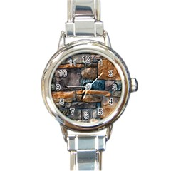 Brick Wall Pattern Round Italian Charm Watch