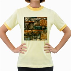 Brick Wall Pattern Women s Fitted Ringer T Shirts