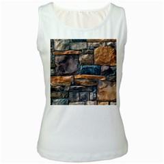 Brick Wall Pattern Women s White Tank Top