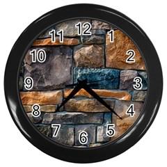 Brick Wall Pattern Wall Clocks (black)