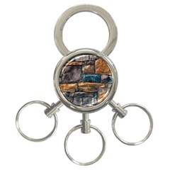 Brick Wall Pattern 3 Ring Key Chains