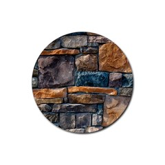 Brick Wall Pattern Rubber Round Coaster (4 Pack)