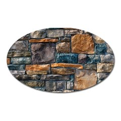 Brick Wall Pattern Oval Magnet