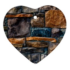 Brick Wall Pattern Heart Ornament (two Sides)