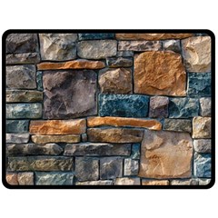 Brick Wall Pattern Double Sided Fleece Blanket (large)