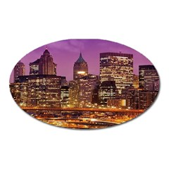 City Night Oval Magnet
